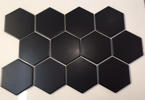 4 Inch Hexagon Porcelain Mosaic Tile Fq83000 Black Matte