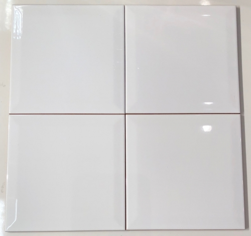 8 X 8 Deltaker Beveled Glossy White Ceramic Wall