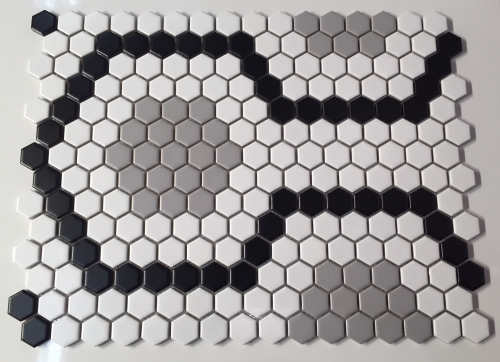 1 Inch Hexagon Retro White Black Grey Pattern